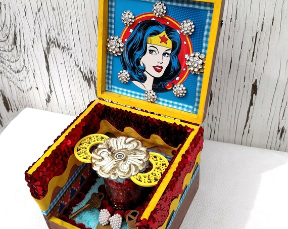 Wonder Woman Cigar Box Altar Shrine
