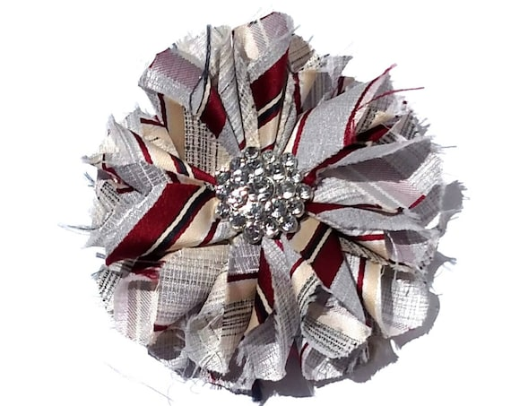 Recycled Vintage Necktie Fabric Flower Clip Pin - Silver and Burgundy