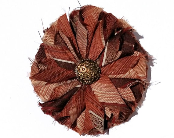 Recycled Vintage Necktie Fabric Flower Clip Pin - Rust and Brown