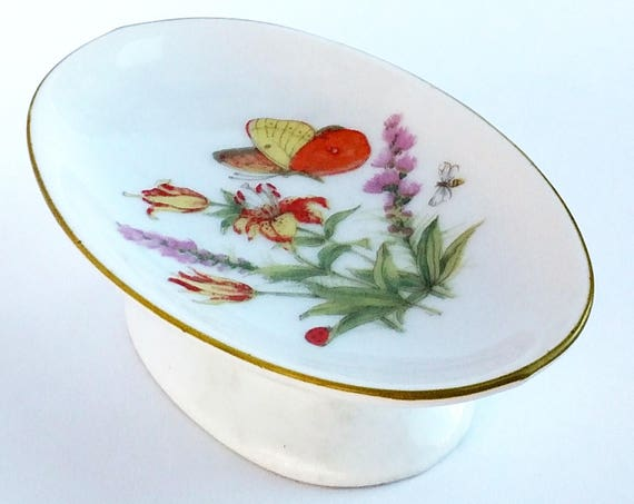 Vintage 1960's Footed Ceramic Soap Dish with Floral and Butterfly Design by Inarco Made in Japan