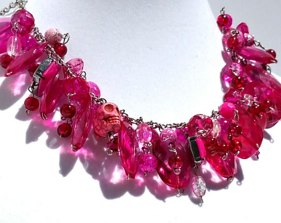 Pretty in Pink Necklace with Chunky Funky Pink Beads and Baubles
