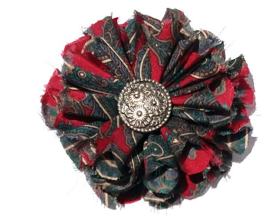 Recycled Vintage Silk Necktie Fabric Flower Clip  - Red and Navy Paisley with Pewter Button