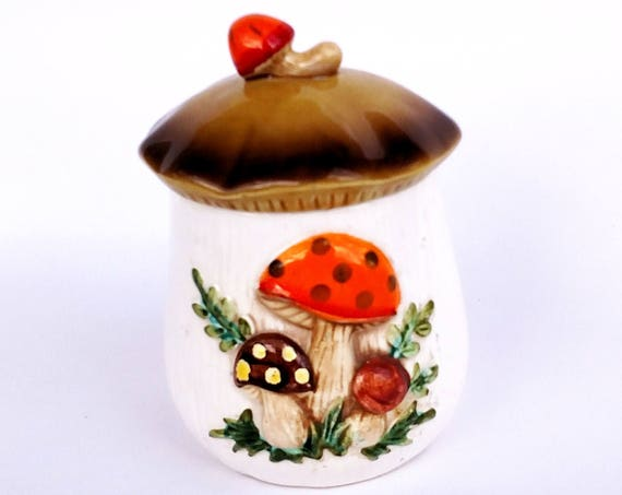 Vintage 1978 Merry Mushroom Ceramic Jar by Sears and Roebuck