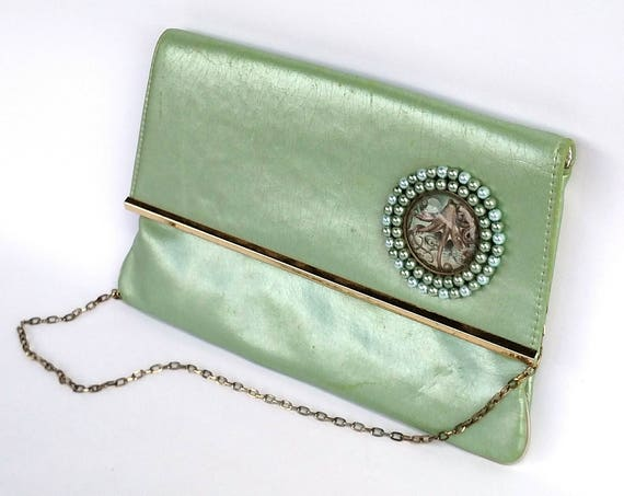 Vintage 1950's Handbag Upcycled with Glass Pearls and Octopus Medallion