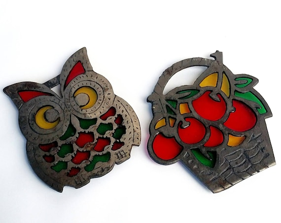 Vintage Stained Glass and Wrought Iron Trivet Set of 2 - Owl and Fruit Basket