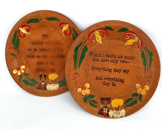 Vintage 1950s Funny Sayings Wood Wall Plates