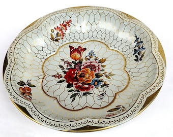 Vintage Shabby Chic Floral Tin Serving Bowl