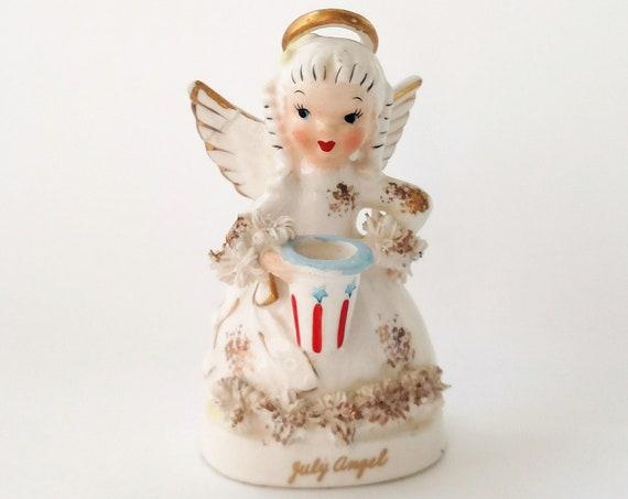 Vintage Napco July Birthday Fourth of July Angel Figurine