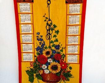 Vintage 1972 Linen Tea Towel Calendar with Colorful Hanging Flower Pot