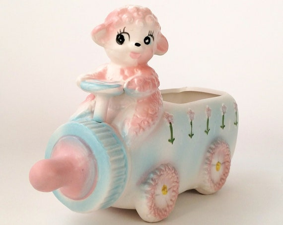 Vintage Napco Cutesy Lamb and Baby Bottle Ceramic Planter