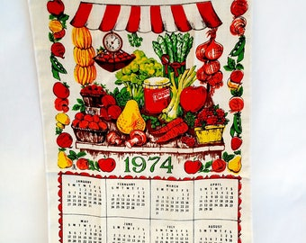 Vintage 1974 Linen Tea Towel Calendar with Farmer's Market Vegetable Stall