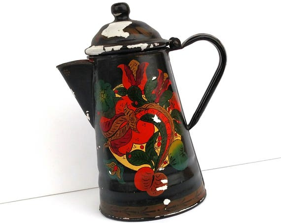 Vintage 1960s Hand Painted Enamel Folk Art Teapot