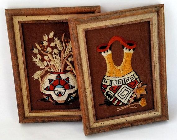 Set of 2 Vintage Framed Embroideries of Pueblo Indian Pottery