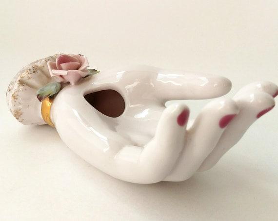 Vintage Porcelain Hand Bud Vase