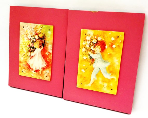 Vintage 1970's Francis Saint Marc Mounted Image Set in Pink and Yellow