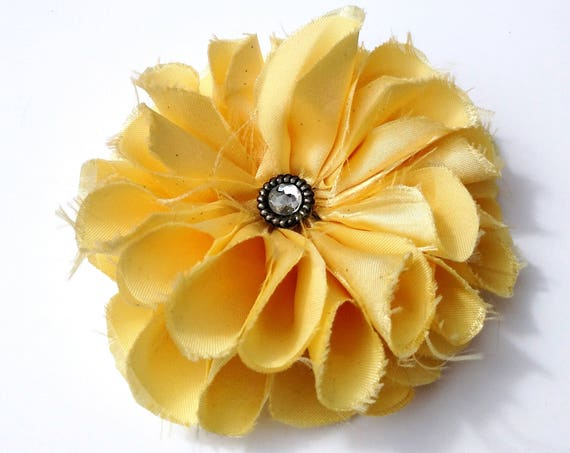 Recycled Vintage Satin Flower Clip in Sparkly Yellow  - Rhinestone Center