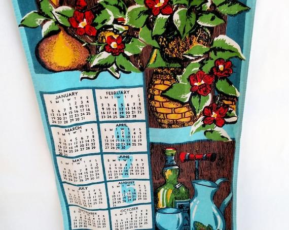 Vintage 1976 Linen Tea Towel Calendar with Flowers and Wine Bottle