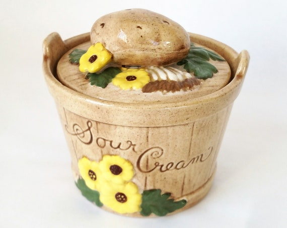 Vintage Kitschy Ceramic Sour Cream Container with Potato on Top