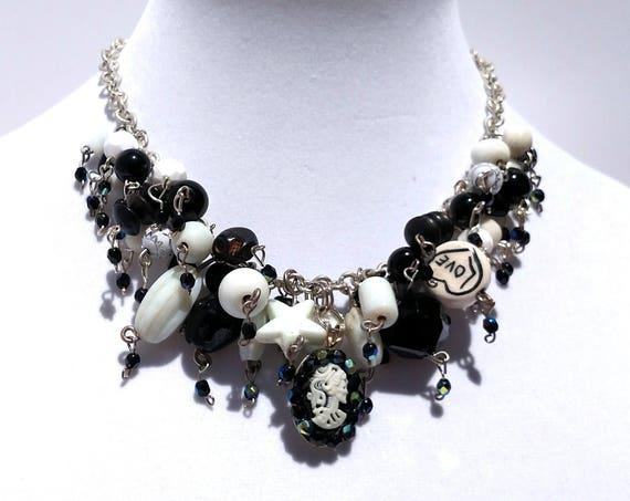Black and White Cameo Cascade Necklace with Skeleton Cameo Pendant