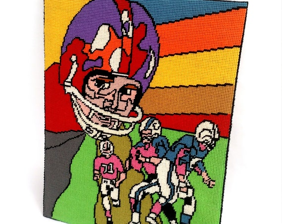 Vintage 1980's Colorful Football Needlepoint by Exclusively Karen