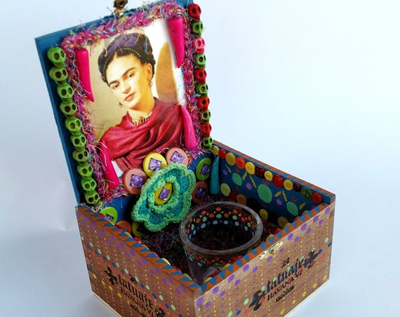 Frida Kahlo Cigar Box Shrine Ofrenda Altar - Mixed Media One of a Kind Assemblage