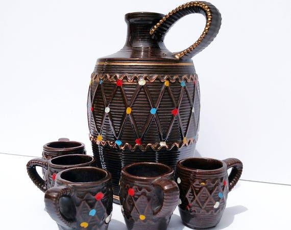 Vintage 1960's Barware - Jug and Cup Set