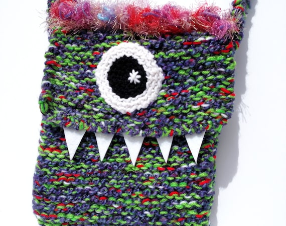 Silly Cyclops Hand Knit Bag - Purple and Red