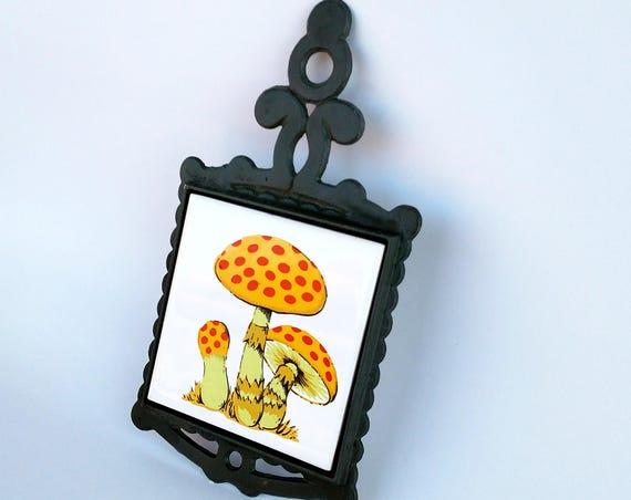 Vintage 1970's Ceramic Mushroom Tile in Wrought Iron Frame
