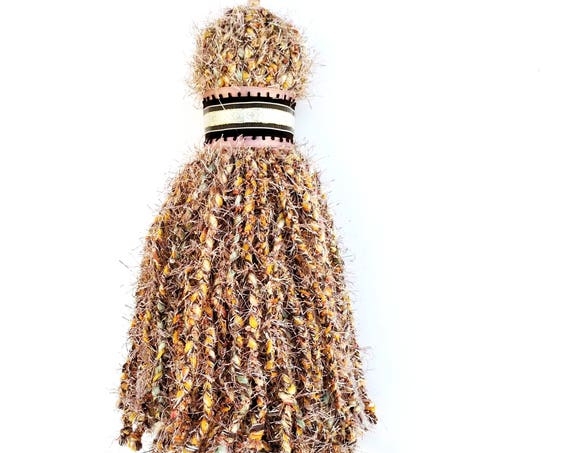 Giant Over Sized Braided Yarn Tassel in Metallic Pink and Nubbly Orange