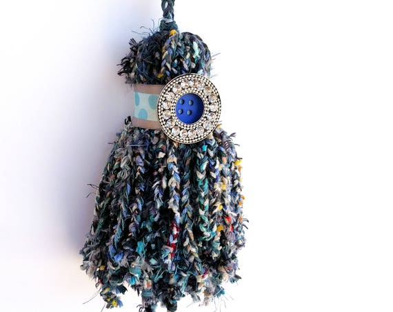 Giant Over Sized Braided Yarn Tassel in Blue and Green with Rhinestone Button