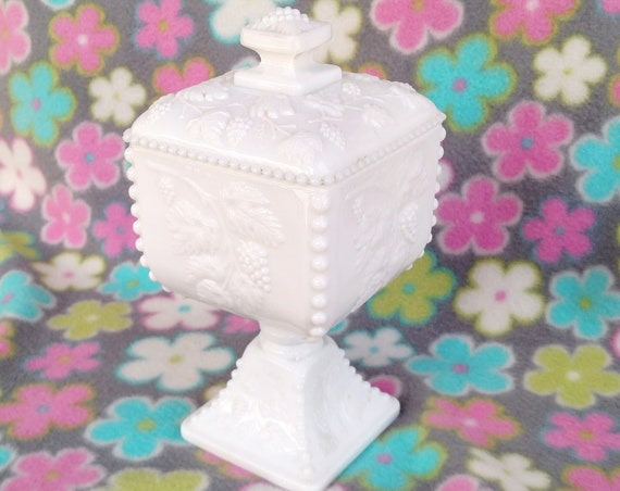 Vintage Milk Glass Pedestal Box with Grapes and Vine Design