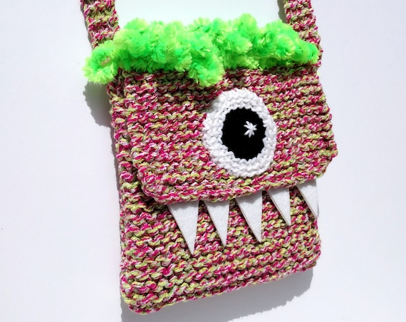 Silly Cyclops Hand Knit Bag - Pink and Green