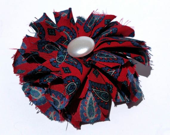 Recycled Vintage Silk Necktie Fabric Flower Clip Pin  - Red and Blue with Pearl Button
