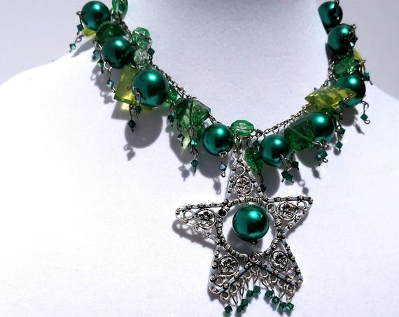 Green Goddess Necklace with Chunky Funky Green Pearls and Gems with Star Pendant