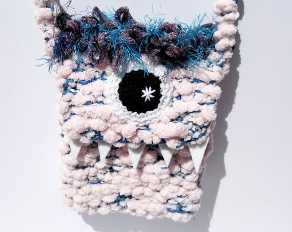 Silly Cyclops Hand Knit Bag - Pink and Blue
