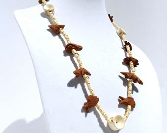 Vintage Bone and Wood Animal Necklace from India