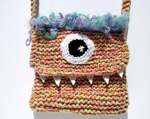 Silly Cyclops Hand Knit Bag - Orange and Purple