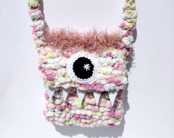 Silly Cyclops Hand Knit Bag - Pastel and Pink