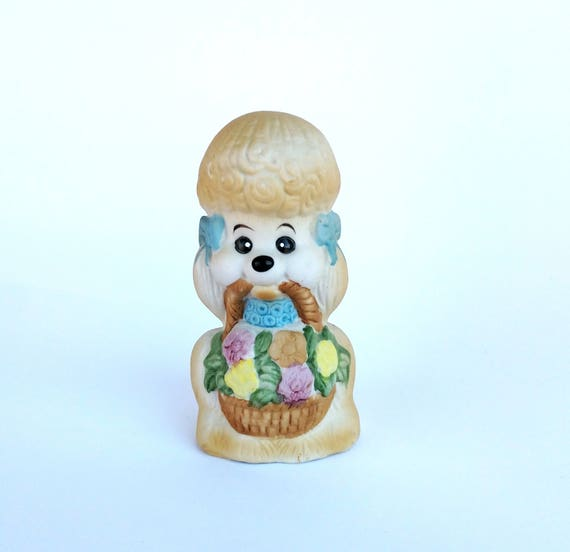 Vintage Jasco Pretty Porcelain Poodle Bell