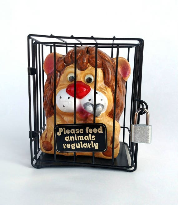 Vintage Lion in Cage Coin Bank with Sign Please Feed Animals Regularly