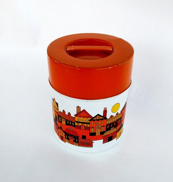 Vintage 1970's Tin Canister with Rustic Village Scene in Orange and Yellow