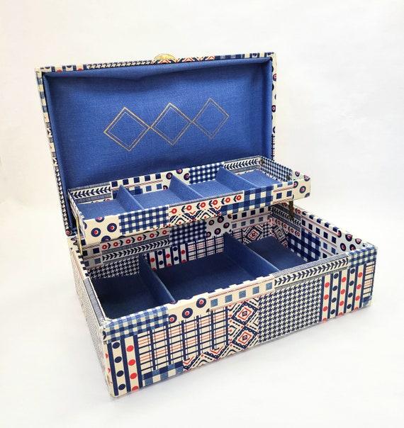 Pink Rose Buxton Jewelry Box Vintage 1960s Retro Dresser Box 1970s Storage Powder Blue Liner White Faux Leather