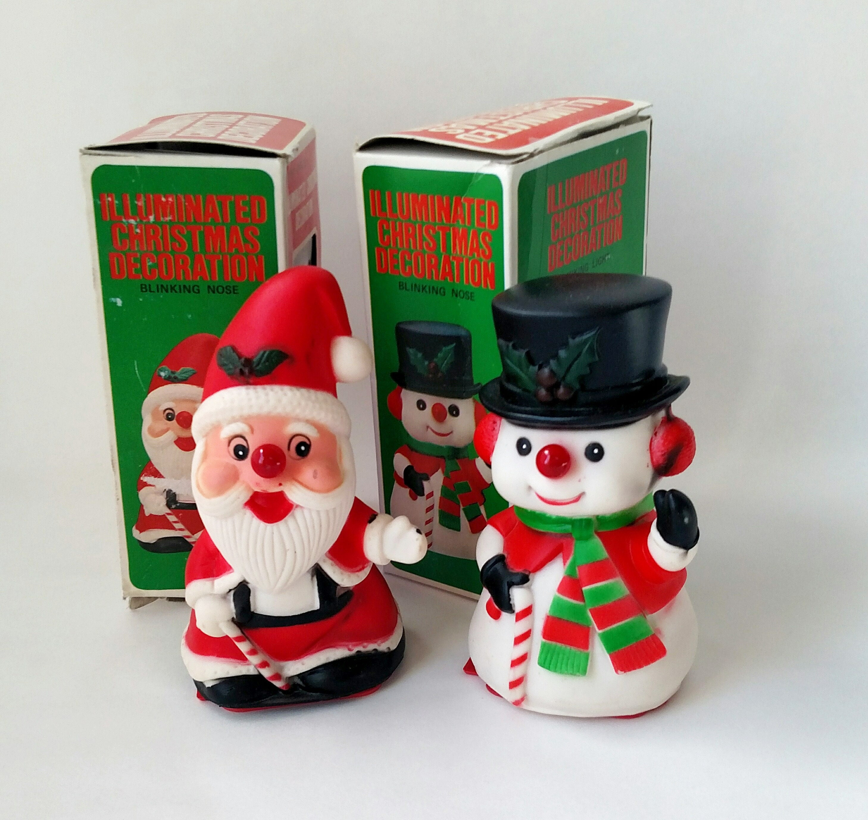 Set Of 2 Vintage Plastic Christmas Figurines Santa Claus And Frosty