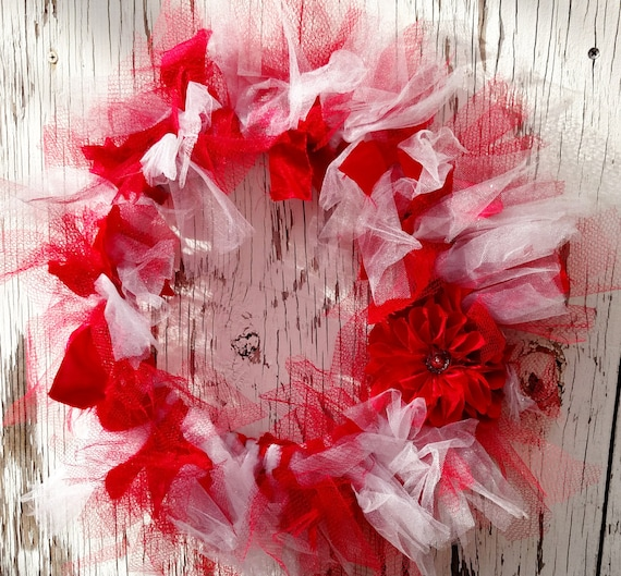 Recycled Prom Dress Wreath - 20 inch - Red and White with Flower