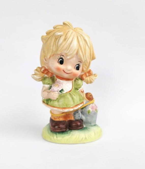 Vintage 1960's Sweet Big Eyed Blonde Girl Figurine by Inarco Made in Japan
