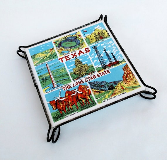 Vintage Souvenir Texas Ceramic and Wrought Iron Table Trivet