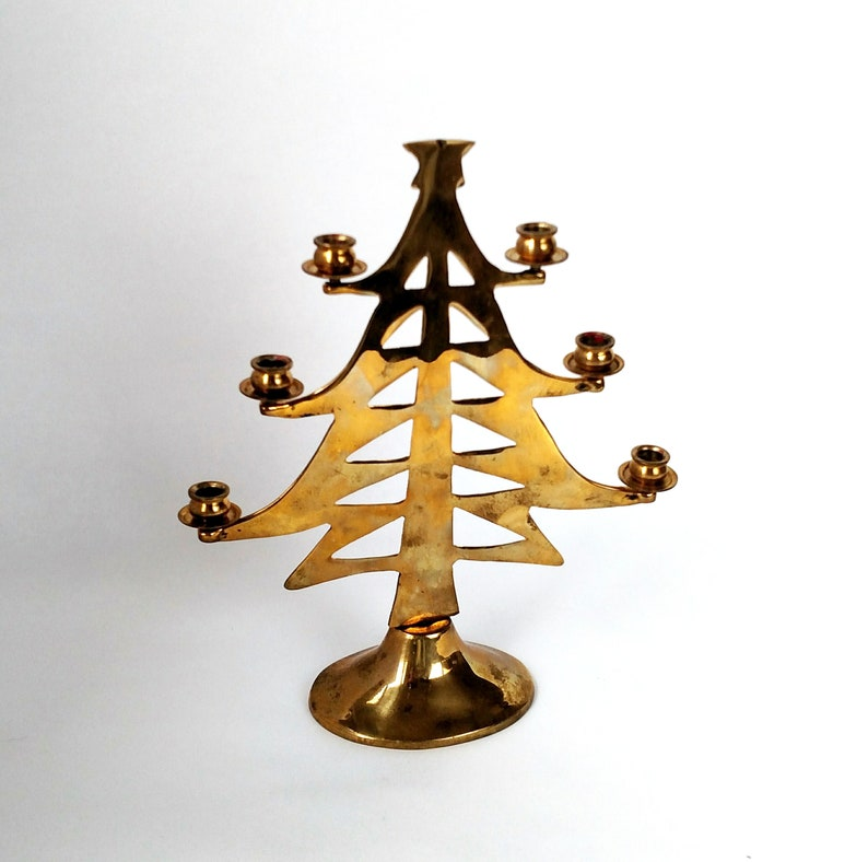 Vintage Brass Christmas Tree Candle Holder.Vintage Brass Christmas Tree Candle Holder