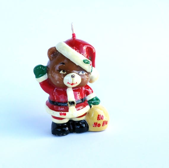 Vintage Christmas Bear Candle by Russ