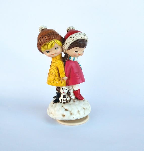 Vintage 1960's White Christmas Musical Wintertime Pals Figurine