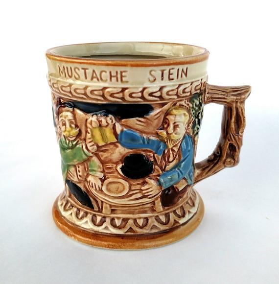 Vintage 1950's German Style Mustache Stein Beer Stein